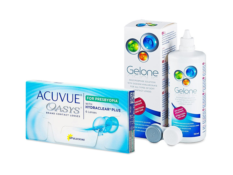 Acuvue Oasys for Presbyopia (6 шт.) + Розчин Gelone 360 ml