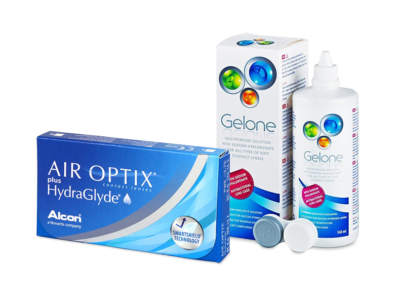 Air Optix plus HydraGlyde (3 шт.) + Розчин Gelone 360 ml