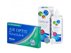 Air Optix plus HydraGlyde for Astigmatism (3 шт.) + Розчин Gelone 360 ml