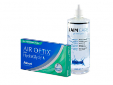 Air Optix plus HydraGlyde for Astigmatism (3 шт.) + Розчин Laim-Care 400 ml