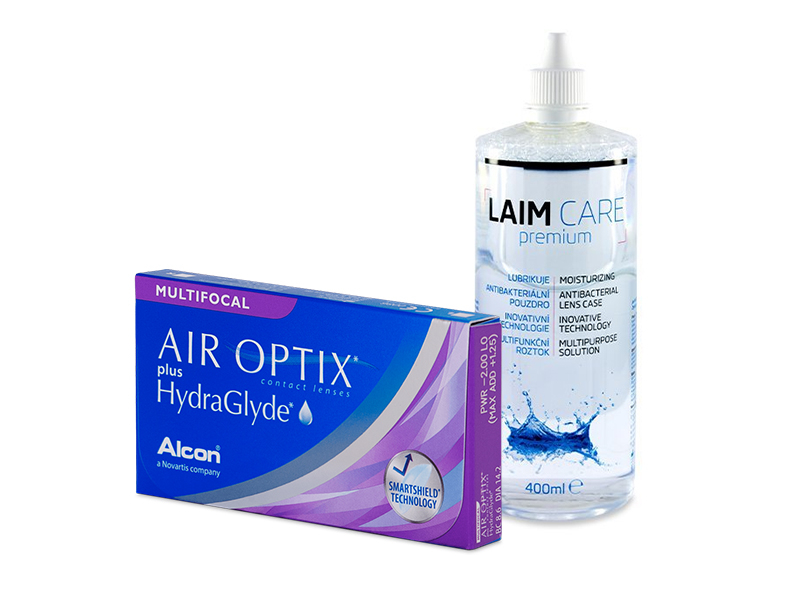 Air Optix plus HydraGlyde Multifocal (3 шт.) + Розчин Laim-Care 400 ml