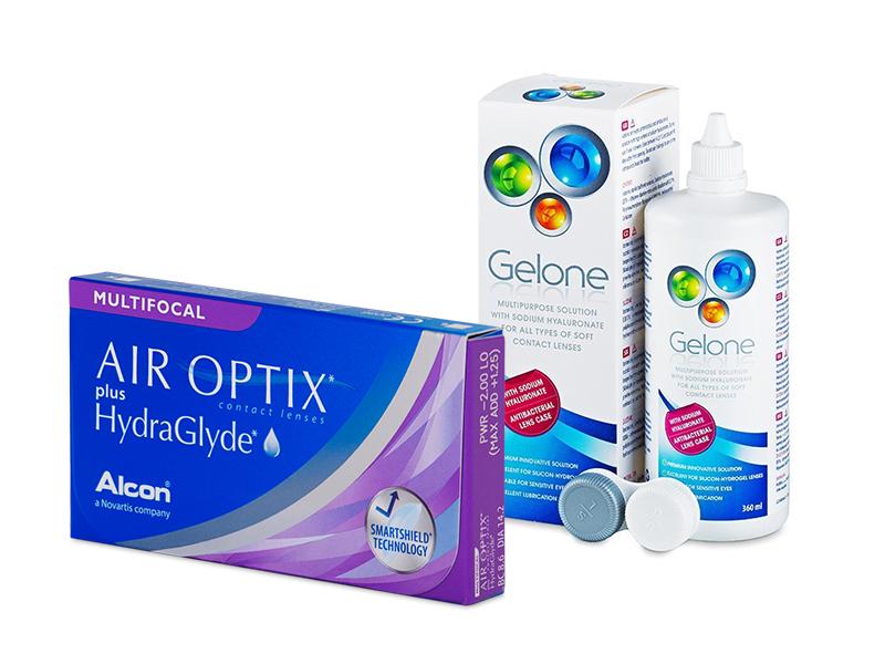 Air Optix plus HydraGlyde Multifocal (6 шт.) + Розчин Gelone 360 ml