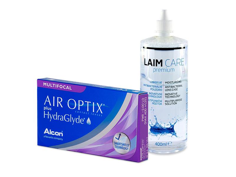 Air Optix plus HydraGlyde Multifocal (6 шт.) + Розчин Laim-Care 400 ml