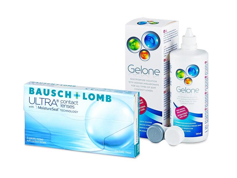 Bausch + Lomb ULTRA (3 шт.) + Розчин Gelone 360 ml