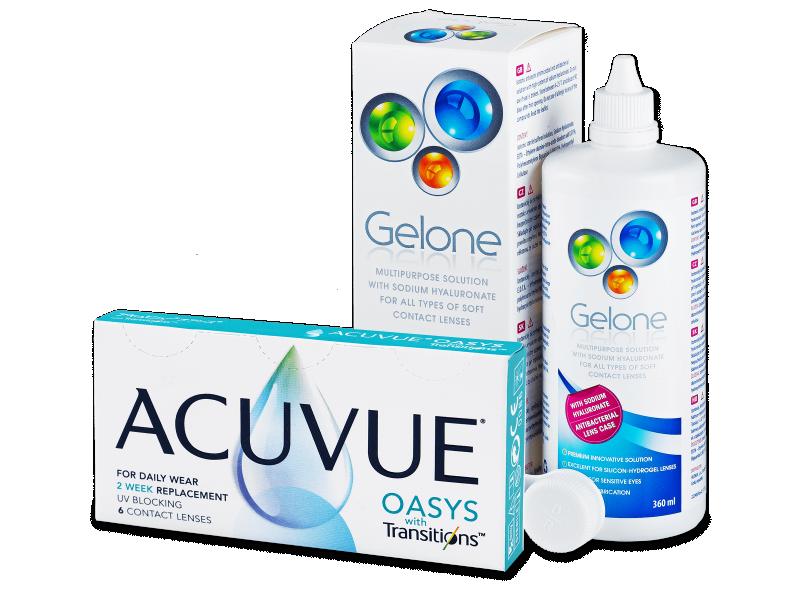 Acuvue Oasys with Transitions (6 лінз) + розчин Gelone 360 ml